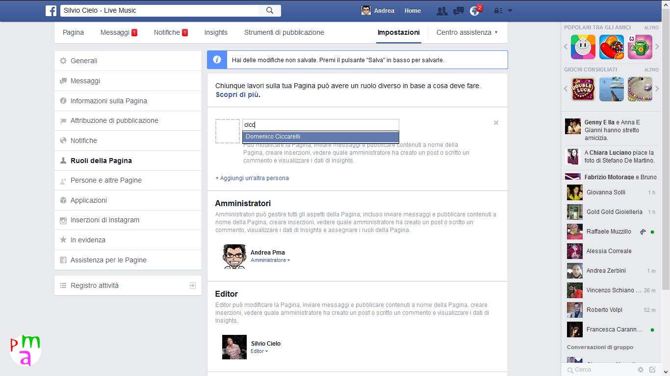 ruoli della pagina facebook