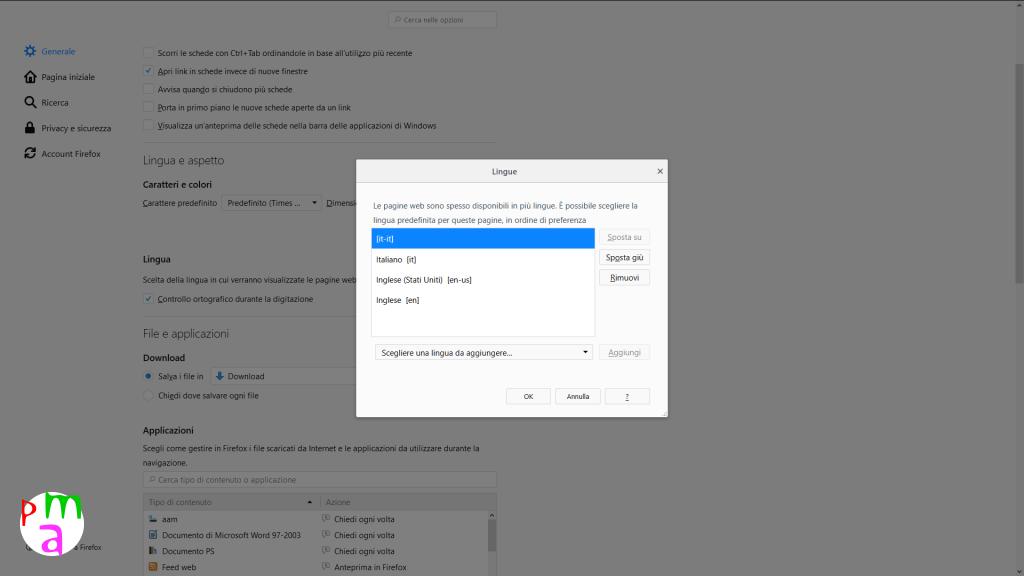 Come cambiare lingua del browser con Firefox
